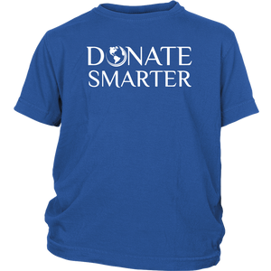 Donate Smarter Youth Shirt White Print