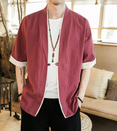Men's Short Sleeve Cardigan (Cotton & Linen)