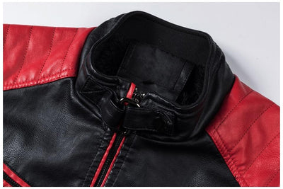 Men's Spliced Leather Jacket