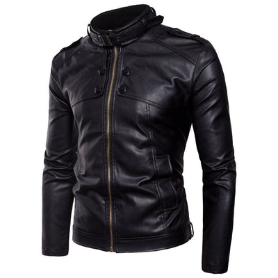 Men's Collar Leather Jacket