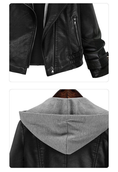 Women's Hooded Leather Jacket