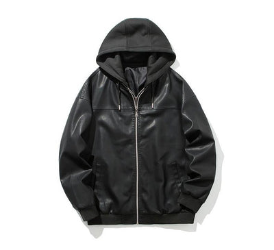 Men's Casual Hooded Leather Jacket