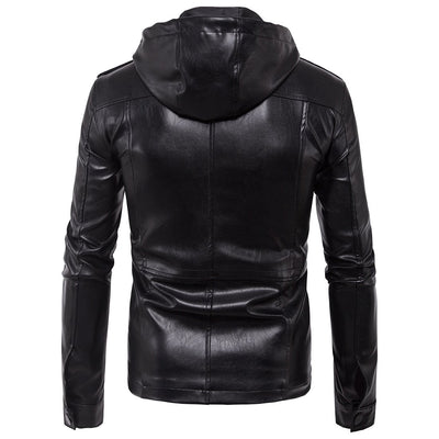 Men's Leather Hooded Jacket