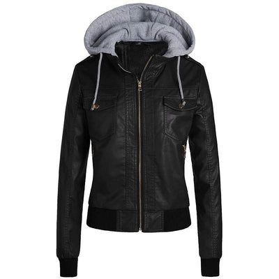 Women's Casual Hooded Leather Jacket