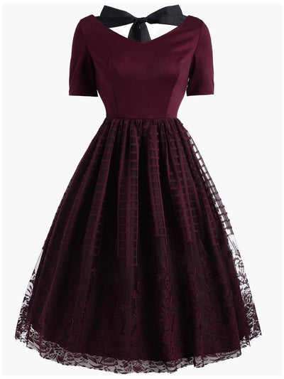 Wine Red Lace Up Dress