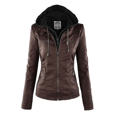Agnese Hooded Leather Jacket