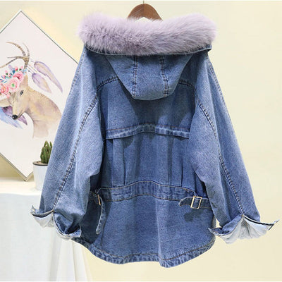 Women's Real Fox Collar Denim Coat