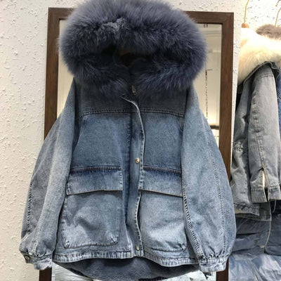 Fox Fur Denim Jacket