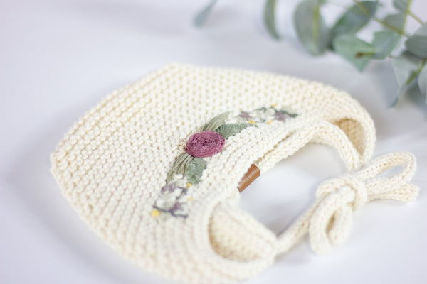 Wheatfield Knitwear Baby Bonnet Knitted Baby Bonnet with Embroidered Flower Crown, Newborn Photography Prop for Baby Girls