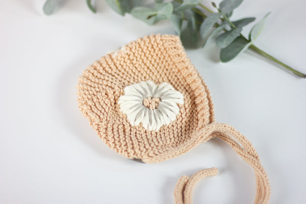 Wheatfield Knitwear Baby Bonnet Knitted Bonnet for Baby Girl with Hand Embroidered Flowers, Newborn Photo Prop, Spring Baby Accessories