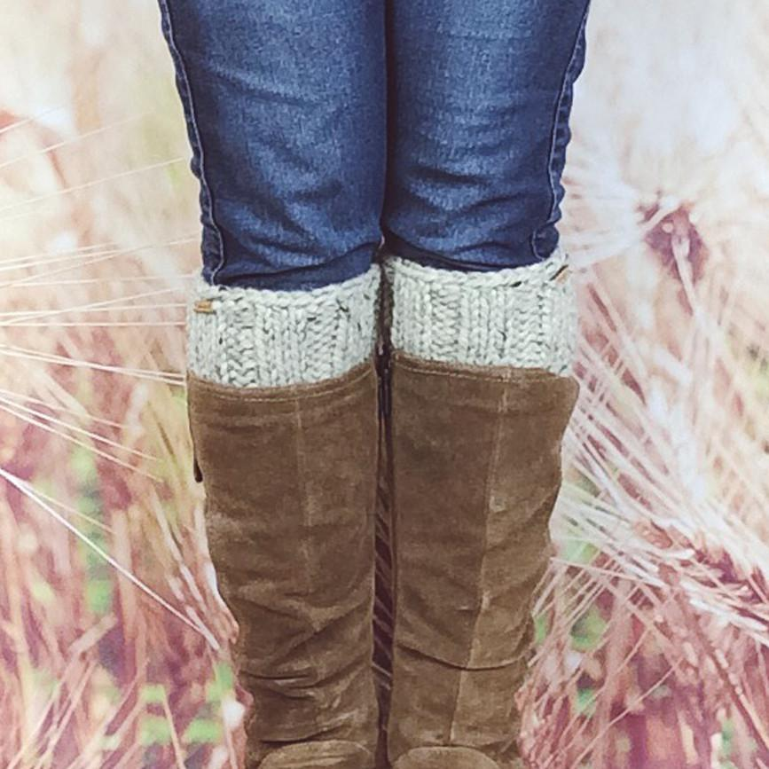 Wheatfield Knitwear Boot Cuffs Oatmeal Knitted Boot Sock Toppers, Knit Ankle Boot Cuffs for Women