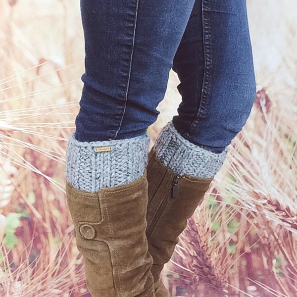 Wheatfield Knitwear Boot Cuffs Womens Knitted Boot Cuffs, Chunky Boot Topper Socks in Grey Marble