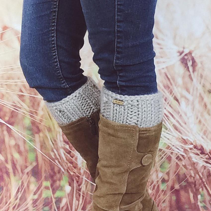 Wheatfield Knitwear Boot Cuffs Womens Knitted Fall Fashion Ankle Boot Cuff Accessories in Linen