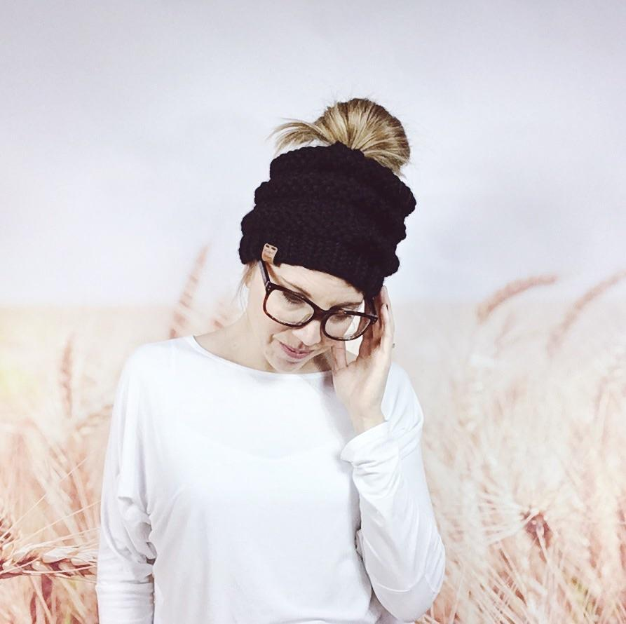 Wheatfield Knitwear Hats Black Chunky Knit Messy Bun Hat, Womens Messy Hair Top Knot Beanie Hat