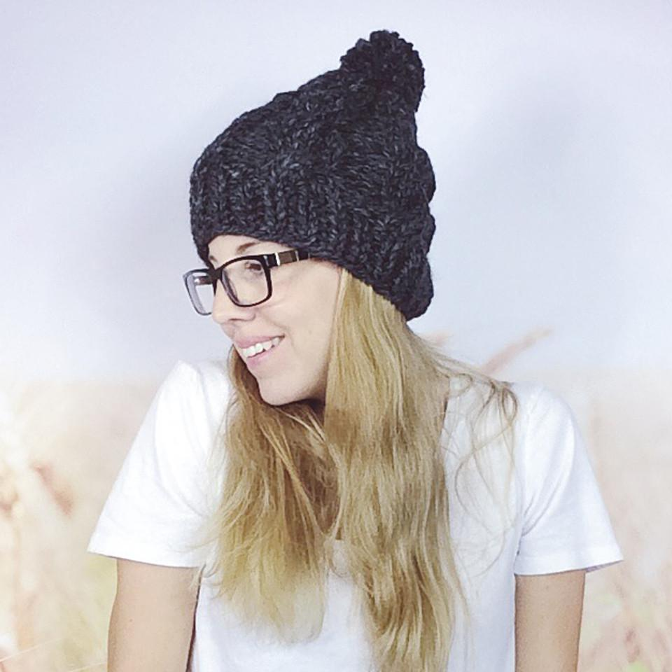 Wheatfield Knitwear Hats Charcoal Grey Cabled Chunky Knit Winter Pom Pom Beanie Hat for Women