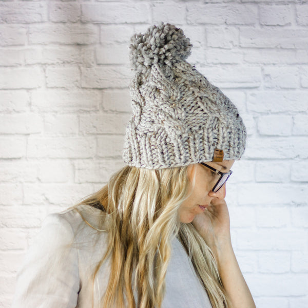 Wheatfield Knitwear Hats Chunky Cable Knit Pom Pom Winter Beanie Hat for Women in Grey Marble
