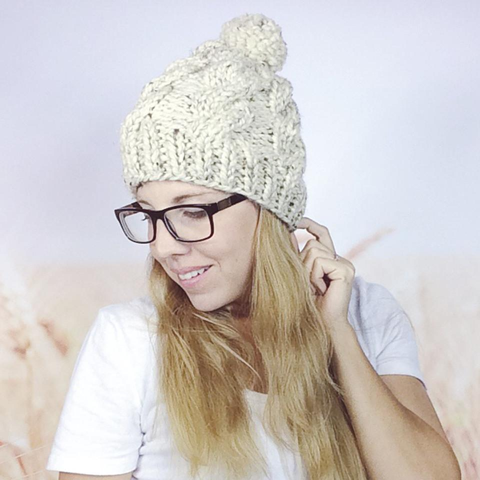 Wheatfield Knitwear Hats Chunky Cable Knit Winter Pom Pom Beanie Hat for Women in Oatmeal