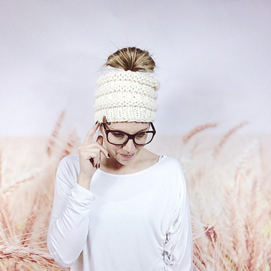 Wheatfield Knitwear Hats Cream Messy Bun Beanie Hat for Women, Knitted Open Top Ponytail Beanie