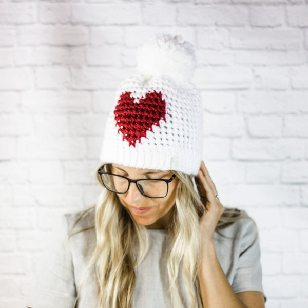 Wheatfield Knitwear Hats Crochet Heart Beanie Hat with Pom Pom, Valentine's Day Gift for Her, Galentine's Day Gift