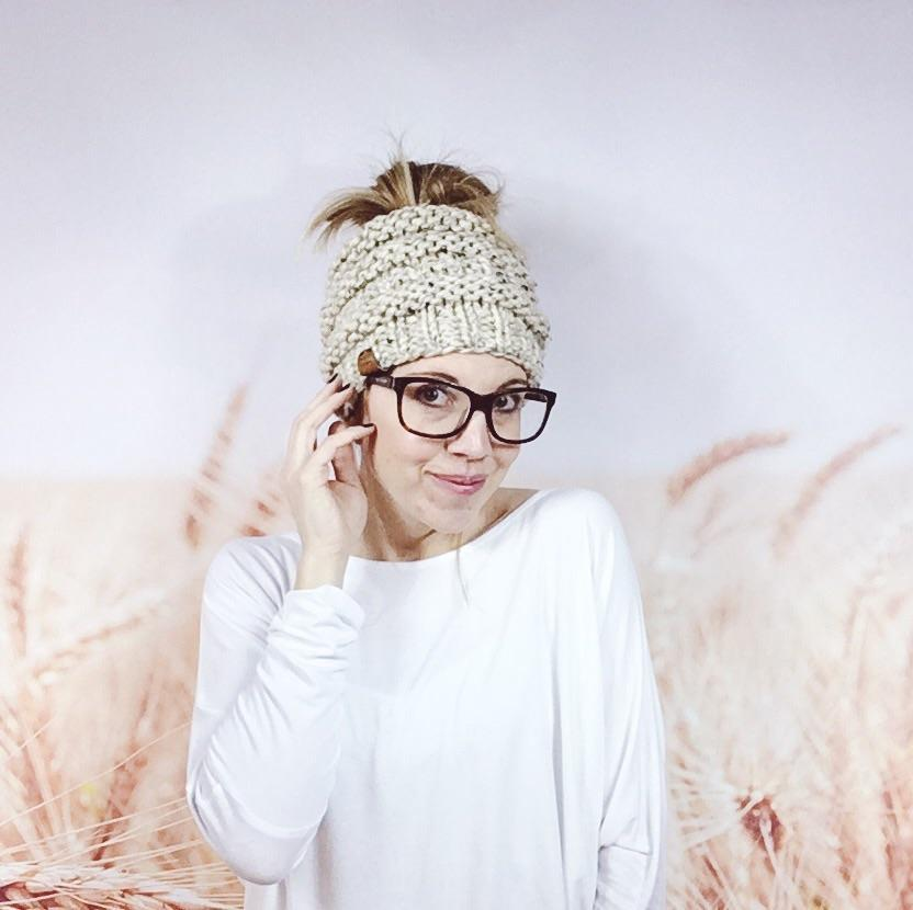 Wheatfield Knitwear Hats Knitted Hipster Messy Bun Ponytail Beanie Hat for Women in Oatmeal