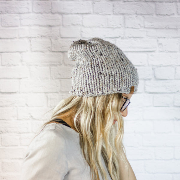 Wheatfield Knitwear Hats Knitted Hipster Slouchy Beanie Hat for Women in Grey Marble