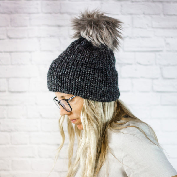 Wheatfield Knitwear Hats Womens Charcoal Grey Faux Fur Pom Chunky Knit Thick Brim Beanie Hat