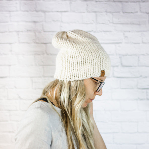 Wheatfield Knitwear Hats Womens Chunky Knit Slouchy Winter Hipster Beanie Hat in Cream