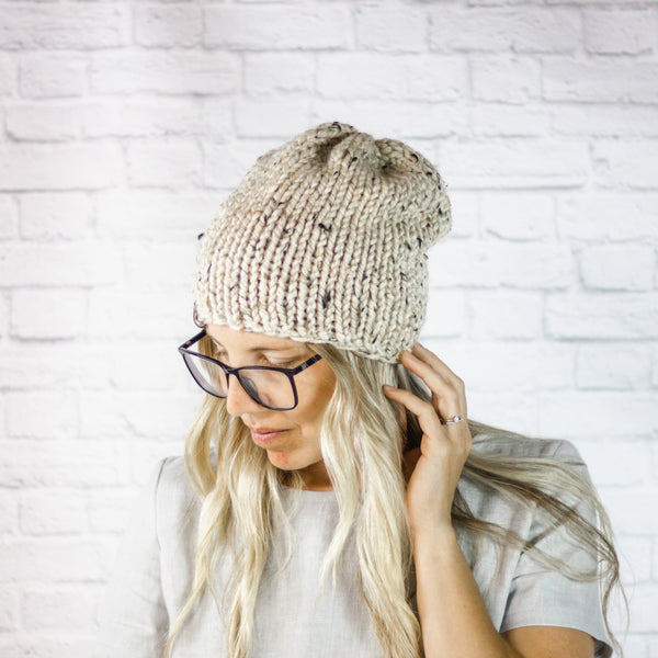 Wheatfield Knitwear Hats Womens Knitted Chunky Knit Winter Slouchy Beanie Hat in Oatmeal