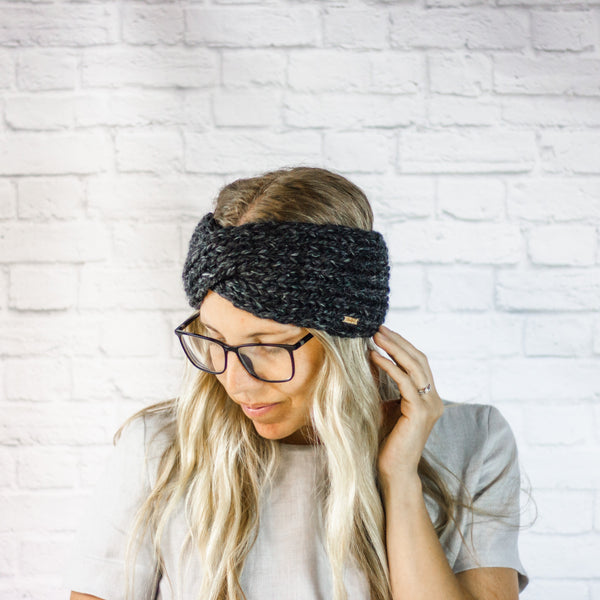 Wheatfield Knitwear Headbands Charcoal Wide Chunky Knit Twisted Turban Ear Warmer Headband for Women