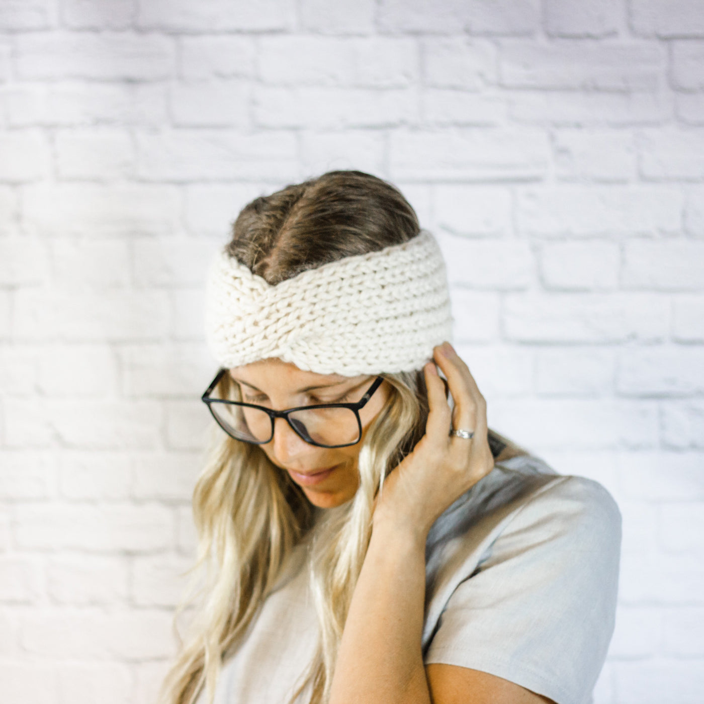 Wheatfield Knitwear Headbands Cream Chunky Knit Ear Warmer, Ladies Wide Twisted Turban Headband