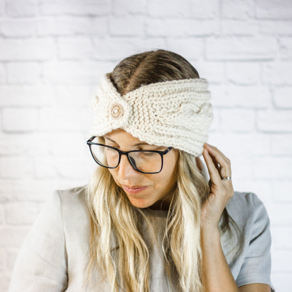 Wheatfield Knitwear Headbands Cream Extra Wide Cable Knit Headband, Chunky Knit Winter Headband with Button