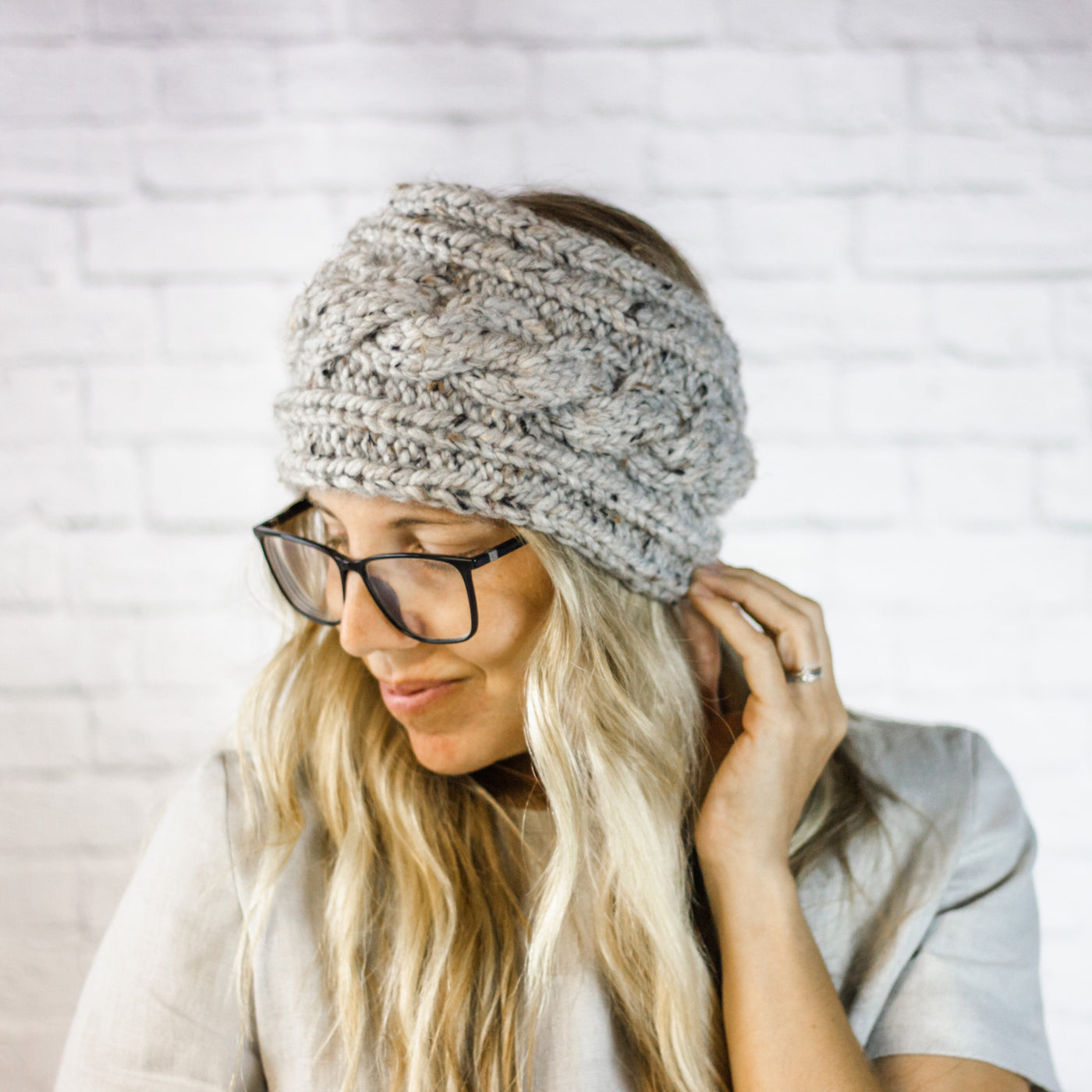 Wheatfield Knitwear Headbands Ladies Extra Wide Cable Knit Button Ear Warmer Headband in Grey Marble