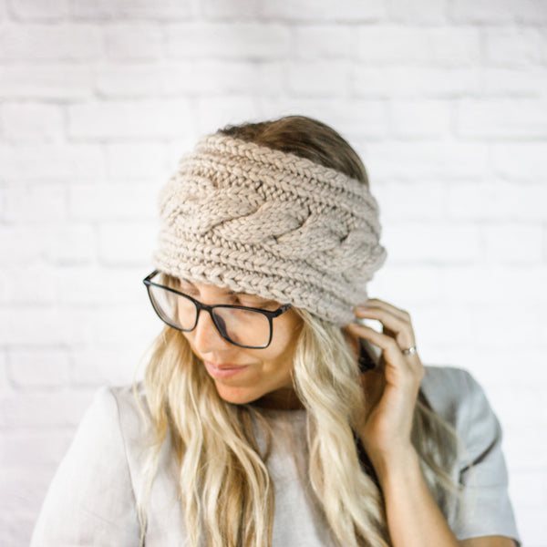 Wheatfield Knitwear Headbands Womens Wide Chunky Cable Knit Button Ear Warmer Headband in Linen
