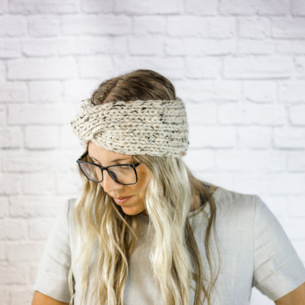 Wheatfield Knitwear Headbands Womens Wide Knit Turban Twist Ear Warmer Headband in Oatmeal