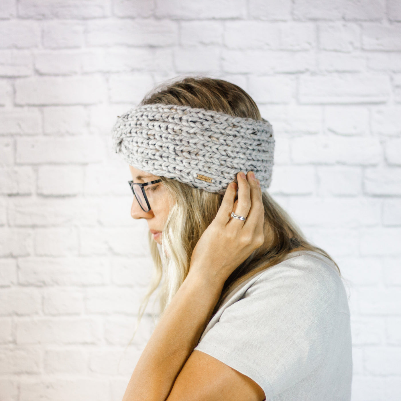 Wheatfield Knitwear Headbands Womens Wide Winter Ear Warmer Twisted Turban Headband in Grey Marble