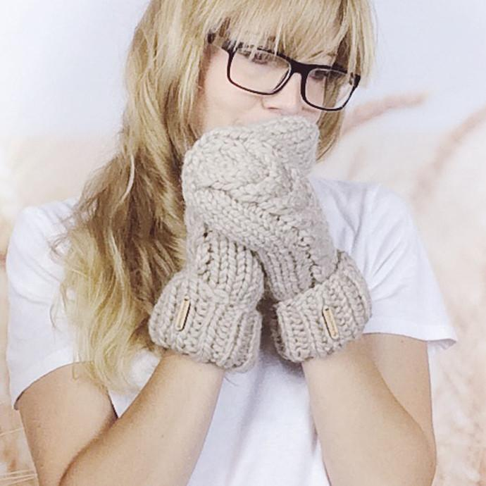 Wheatfield Knitwear Mittens Cable Twist Knit Wool Mitts, Knitted Hand Warmer Mittens in Linen
