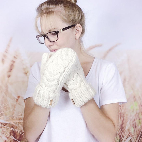 Wheatfield Knitwear Mittens Cream White Cable Knit Hand Warmers, Knitted Winter Mittens for Women