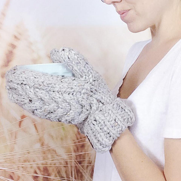 Wheatfield Knitwear Mittens Ladies Knitted Chunky Cable Knit Winter Mittens in Grey Marble