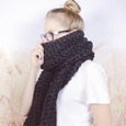 Wheatfield Knitwear Scarves Charcoal Grey Open Ended Extra Long Chunky Crochet Winter Scarf