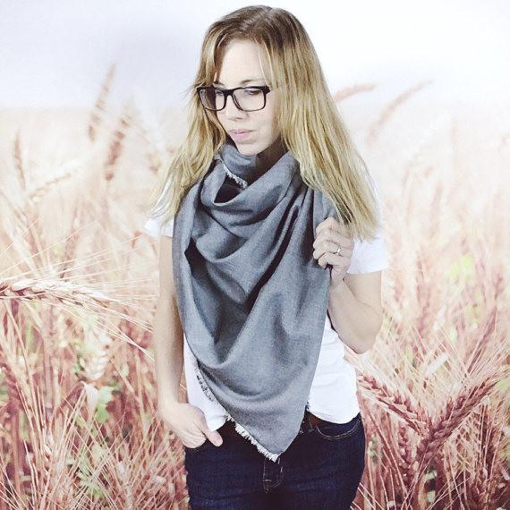 Wheatfield Knitwear Scarves Grey Herringbone Oversized Blanket Scarf