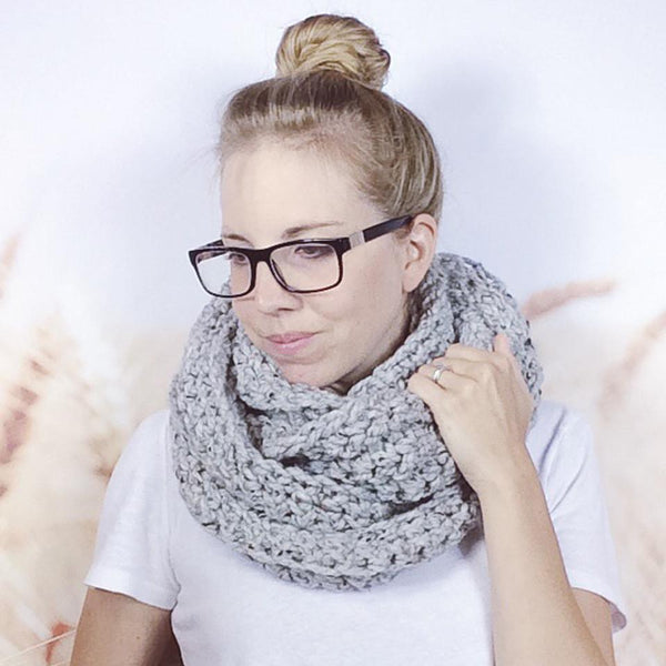 Wheatfield Knitwear Scarves Grey Marble Chunky Crochet Infinity Loop Eternity Scarf for Women