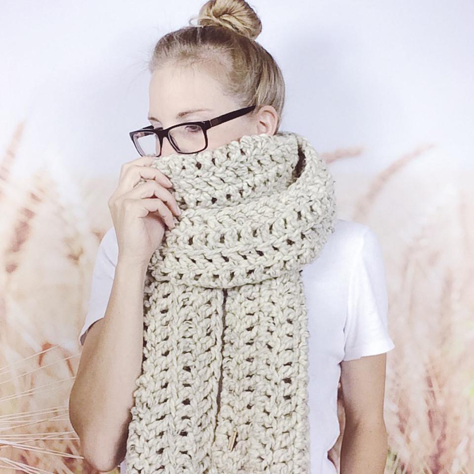 Wheatfield Knitwear Scarves Traditional Open Ended Chunky Crocheted Scarf Wrap Scarf in Oatmeal