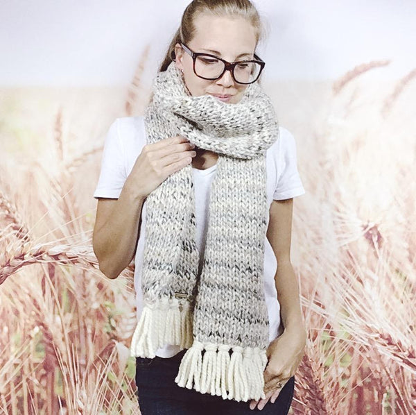 Wheatfield Knitwear Scarves Womens Long Chunky Knit Winter Fringe Scarf in Sandstone and Cream