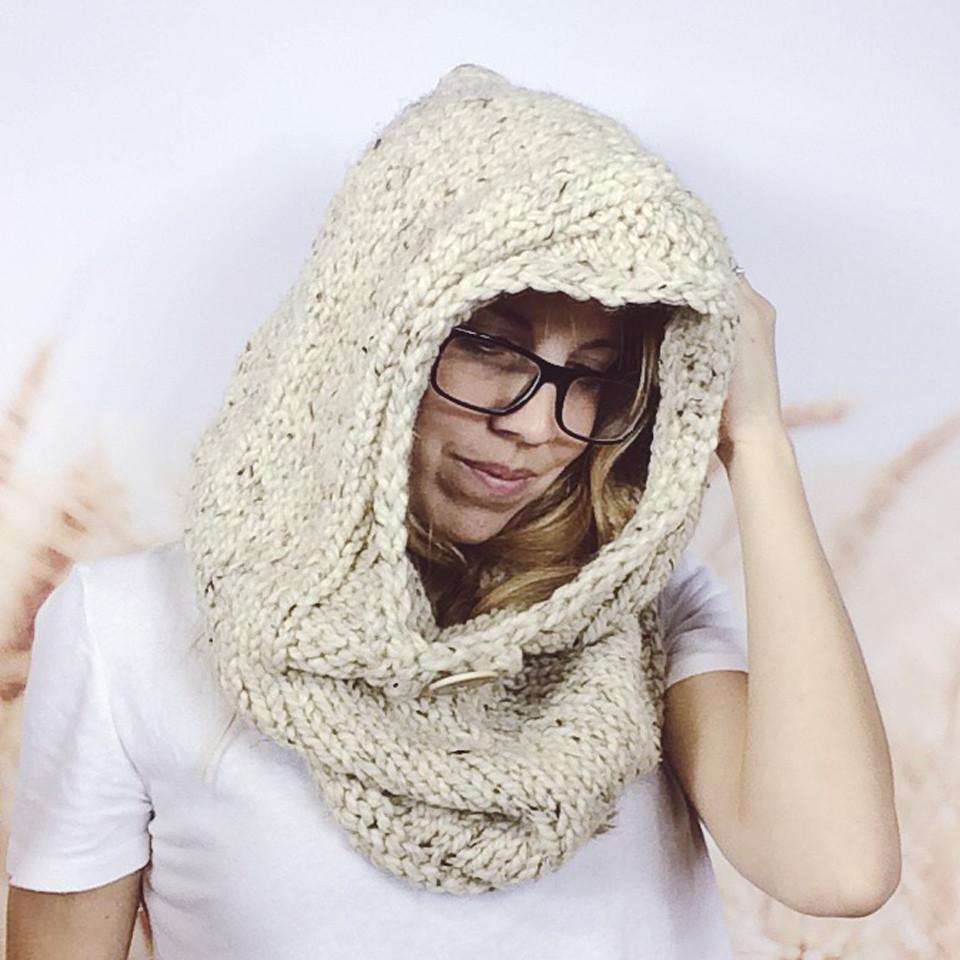 Wheatfield Knitwear Scarves Womens Oversized Chunky Knit Winter Hooded Cowl Scarf Snood in Oatmeal
