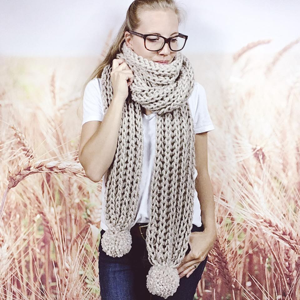 Wheatfield Knitwear Scarves Womens Oversized Extra Long Knitted Boho Scarf with Pom Poms in Linen