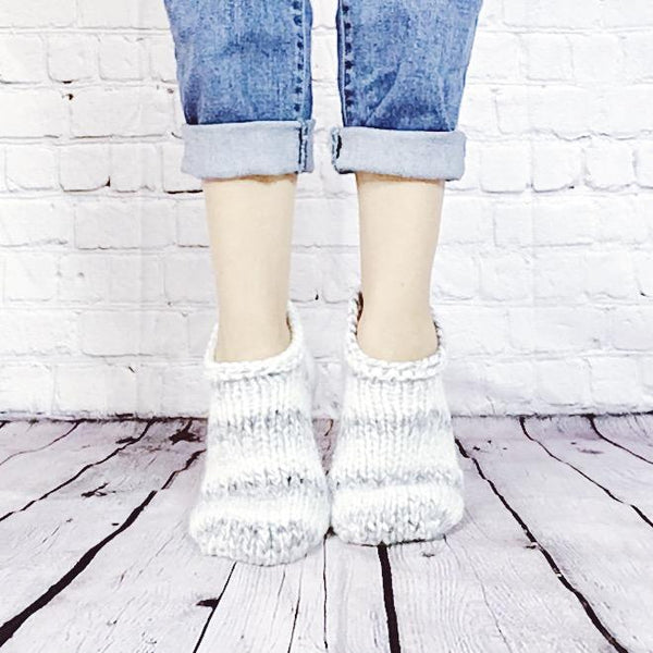 Wheatfield Knitwear Socks Thick Knitted Slipper Socks for Women, Women's Hand Knit Ankle Socks in Marble