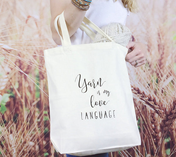Wheatfield Knitwear Totes & Prints Yarn Is My Love Language Screen Printed Canvas Project Tote Bag