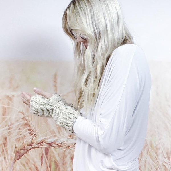 Wheatfield Knitwear Wrist Warmers Cable Knit Fingerless Driving Gloves for Women, Knitted Wrist Arm Warmers in Oatmeal