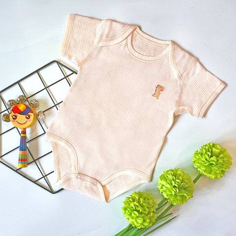 Organic Cotton Baby Short Sleeve Onesie Romper  – GoodDino Series by FirstDino – Light Brown in Narrow Line