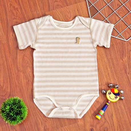 Organic Cotton Baby Short Sleeve Onesie Romper – GoodDino Series by FirstDino – LIGHT BROWN